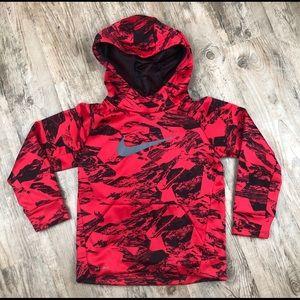 Nike Kids Red Black Print Pullover Hoodie - 6/M